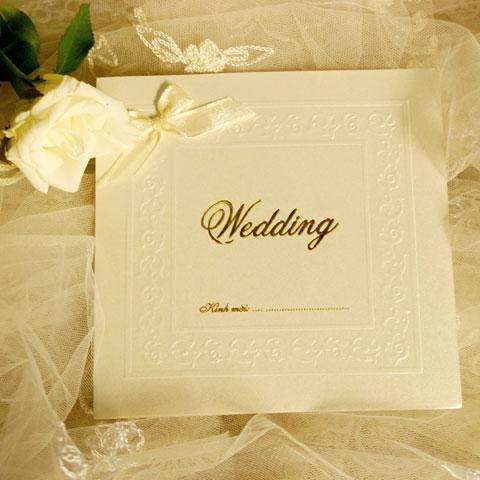 Thiệp cưới ép kim, đơn giản và đẹp