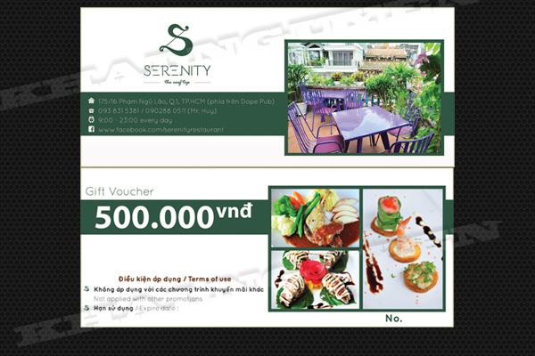 Thiết kế voucher nhà hàng serenity