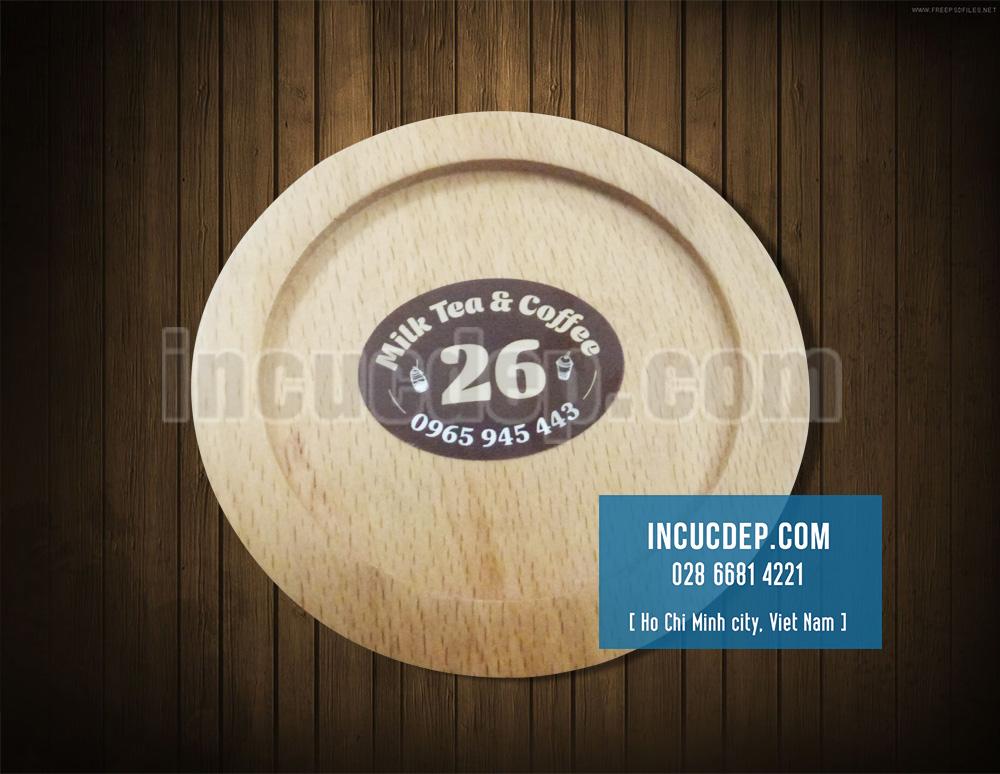 In lót ly gỗ dán logo bằng decal