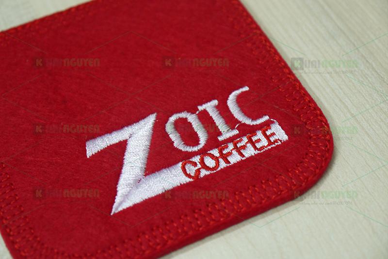 Làm lót ly vải nỉ 3 lớp cho Zoic Coffee