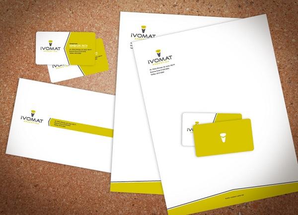 Bộ bao thư và card visit trong bộ nhận diện thương hiệu