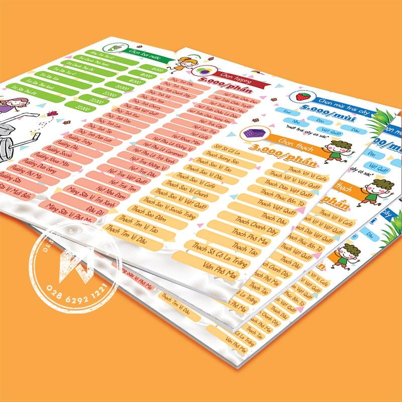 Bảng menu in bằng PP bồi formex