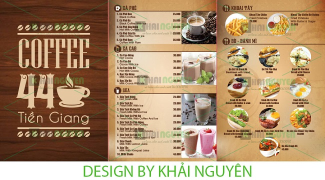 Mẫu thiết menu cafe 44 Tiền Giang
