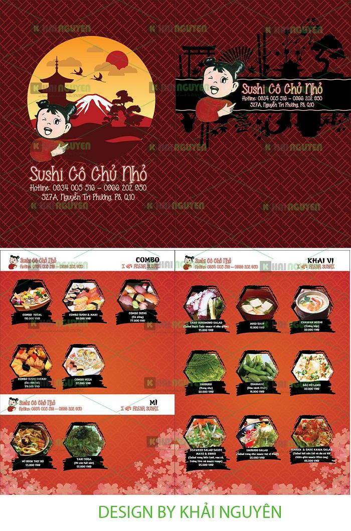 Mẫu thiết kế menu sushi Cô Chủ Nhỏ