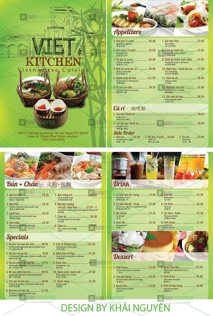 Mẫu thiết kế menu nhà hàng Viet Kitchen