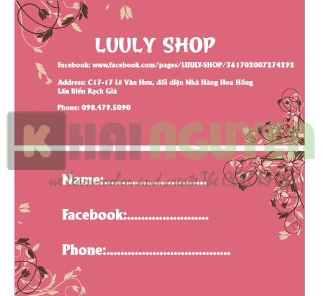 Price tag - Luu Ly Shop
