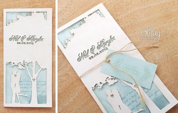 Thiệp cưới kết hợp giữa thiệp khắc laser và thẻ treo