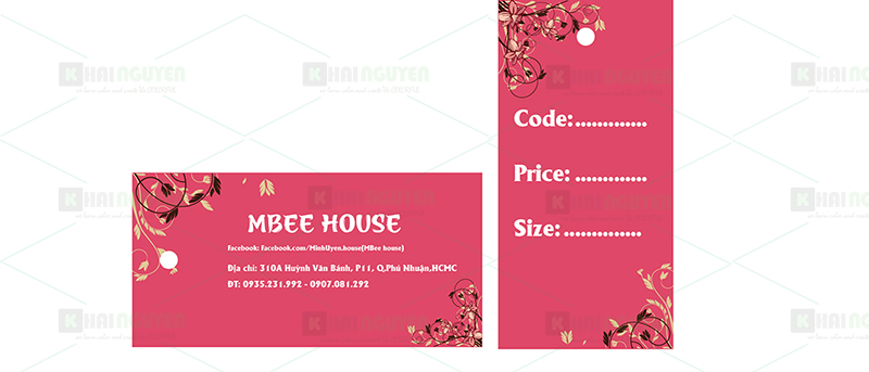 Mẫu thiết kế price tag Shop Mbee House