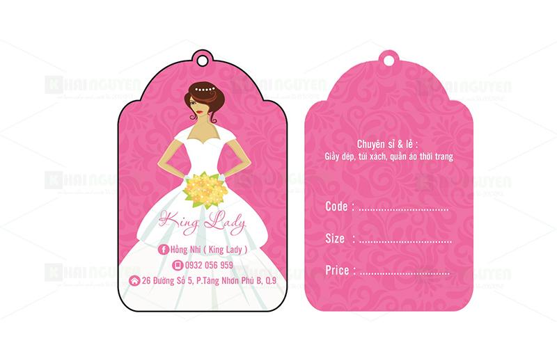 Mẫu thiết kế thẻ treo của Shop King Lady