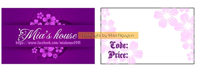 Mẫu thiết kế thẻ treo dạng card visit màu tím dễ thương