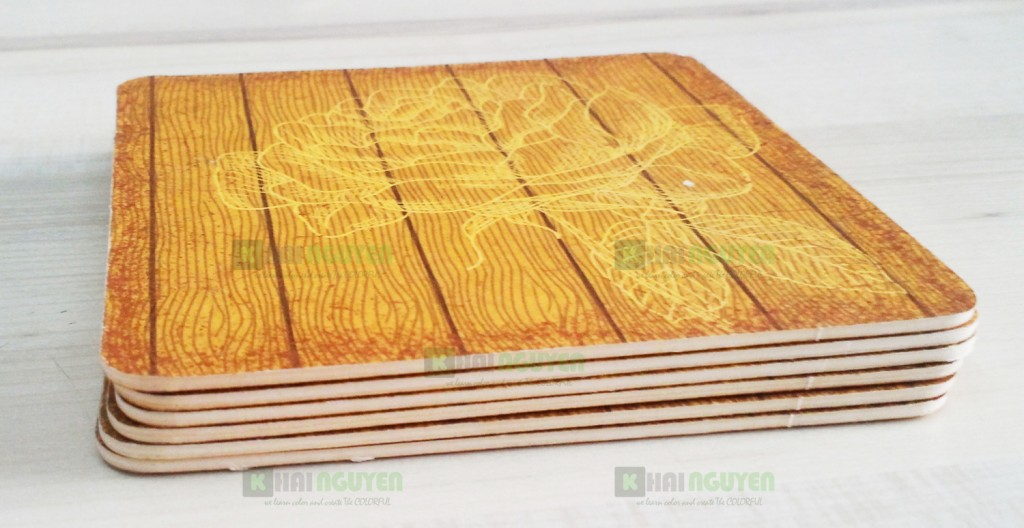 Mặt sau của lót ly - Mặt giả gỗ mang phong cách vintage