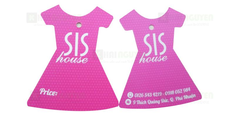 Mẫu in thẻ treo bế hình chiếc đầm shop SIS