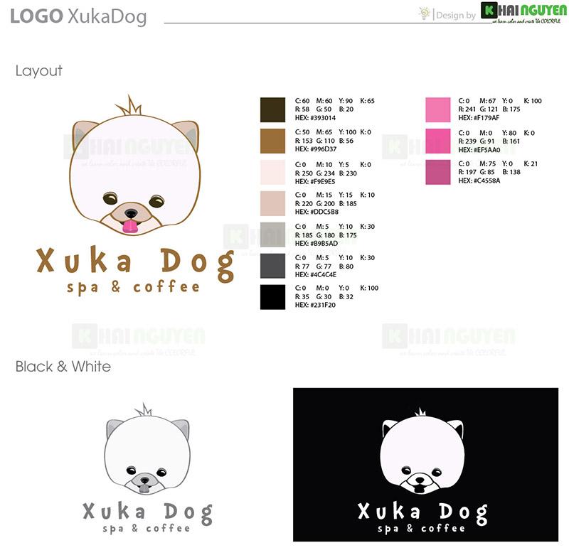 Thiết kế logo - Bộ nhận diện thương hiệu spa Xuka - Dog