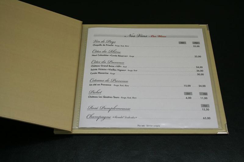 In thực đơn bìa bồi carton dạng 1 tờ đặc biệt