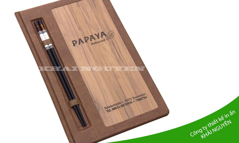 Mẫu menu gỗ nhà hàng panaya