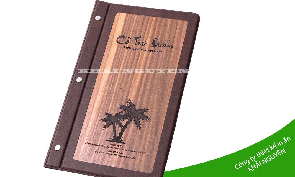 Mẫu menu gỗ nhà hàng cô thư quán