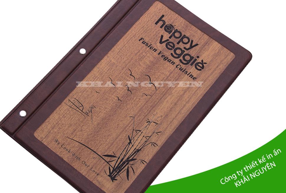Menu gỗ nhà hàng happy - menu khắc laser đen