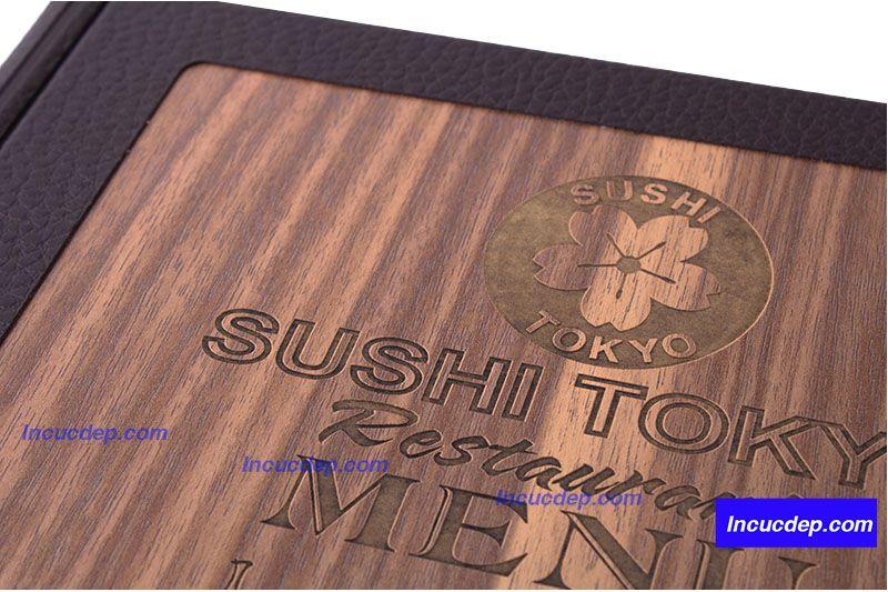 Menu gỗ sushi tokyo - menu khắc gỗ cực đẹp