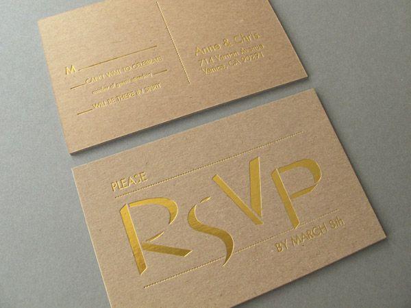 In card visit ép kim vàng trên giấy kraft