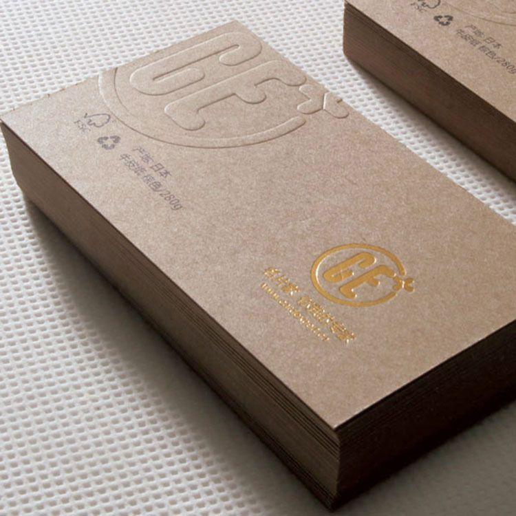 In card visit dập nổi - ép kim vàng giấy kraft
