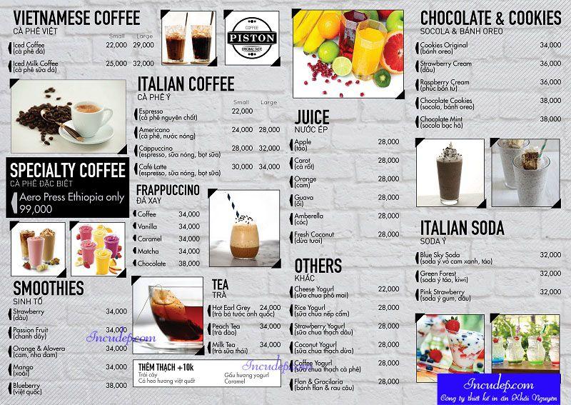 Thiết kế menu theo phong cách hiện đại