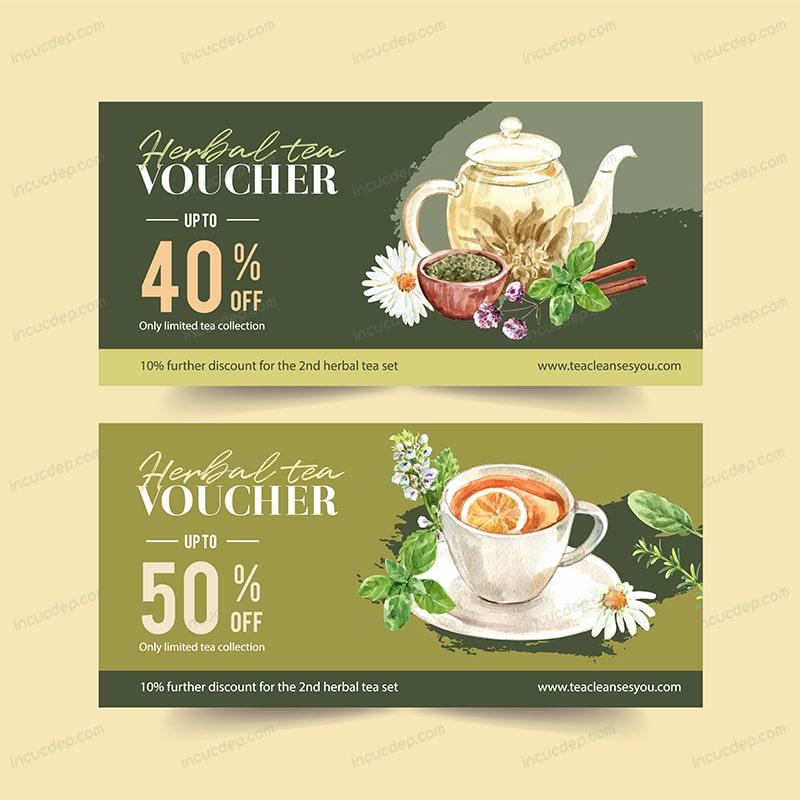 Tea voucher ấn tượng với phong cách watercolor