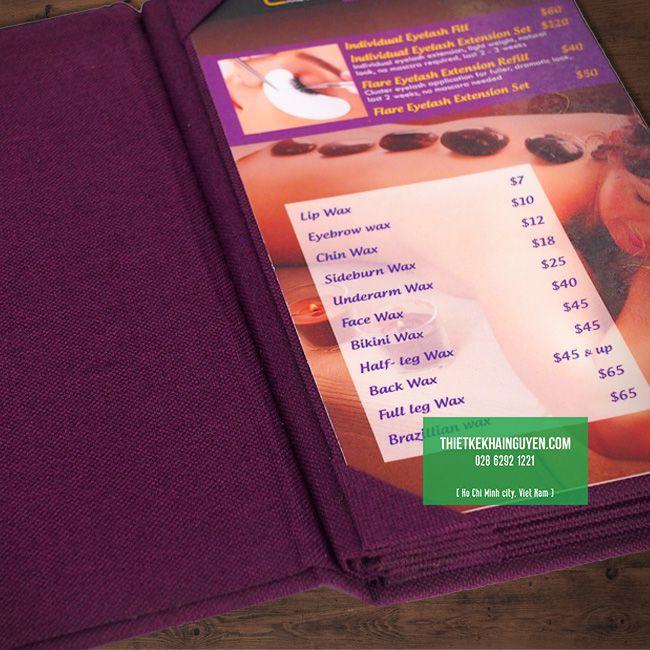 In bìa menu vải chất lượng cao