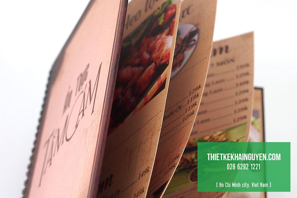 In thực đơn quán nhậu menu bìa bồi carton