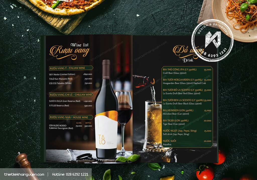 Thiết kế menu rượu cho nhà hàng