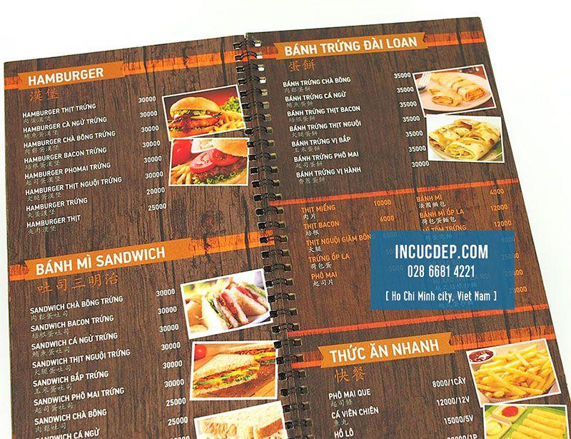 In menu đóng gáy lò xo cán màng nhám