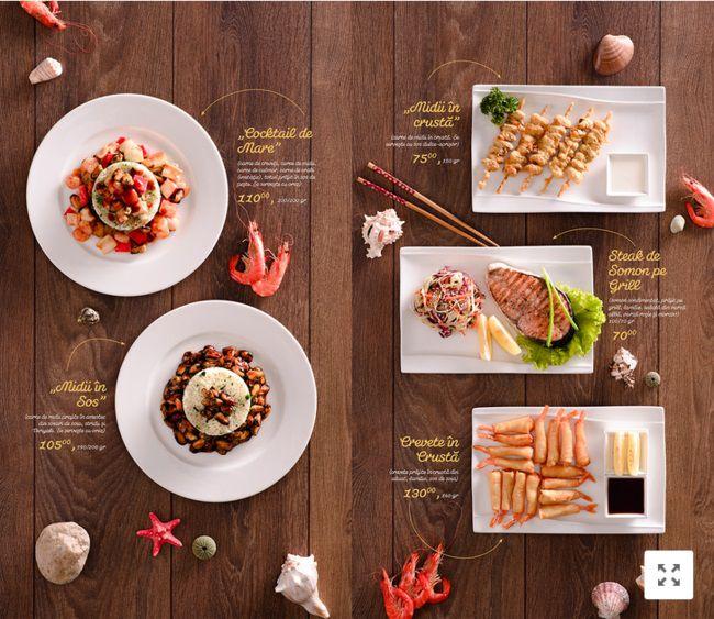 Mẫu menu nhà hàng thiết kế theo phong cách trích dẫn