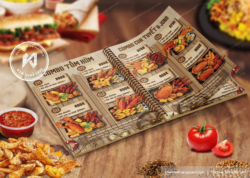 In menu cho nhà hàng Hải Sản