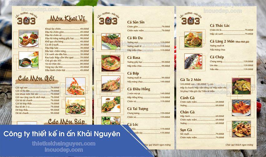 In menu quán nhậu - thiết kế menu quán nhậu đẹp