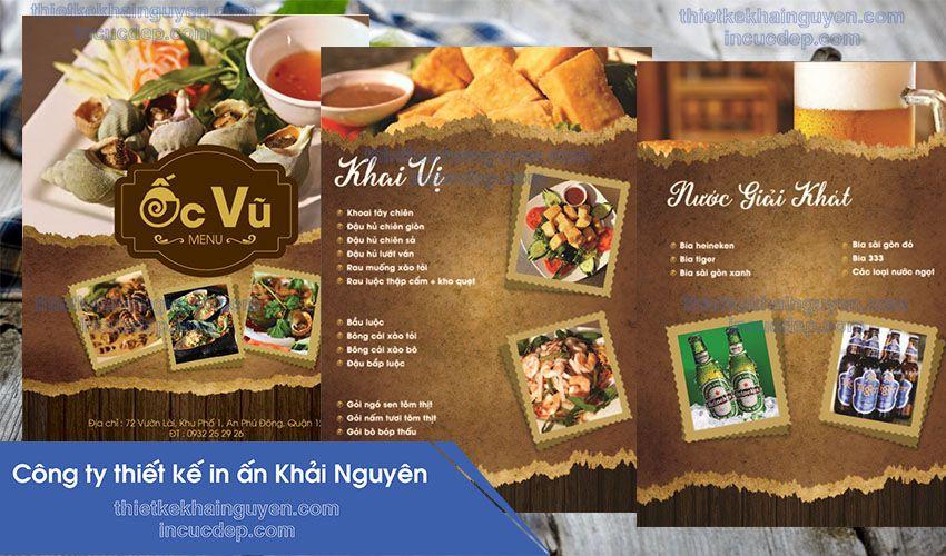 Mẫu thiết kế và in menu quán ốc Vũ