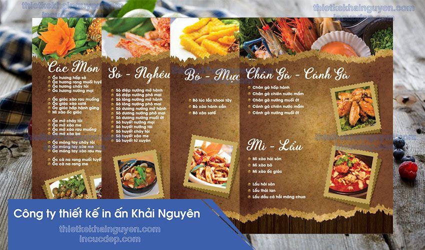 Thiết kế menu quán ốc Vũ cực đẹp