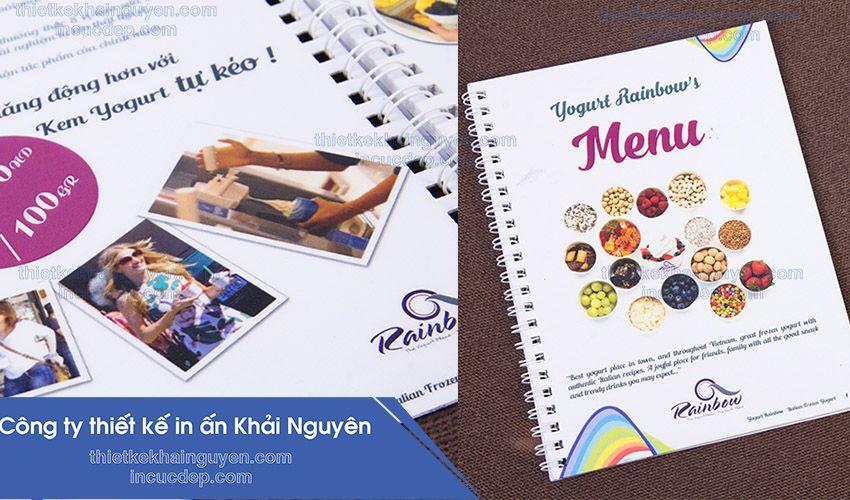 Mẫu in menu kem dạng cuốn - menu rainbow's