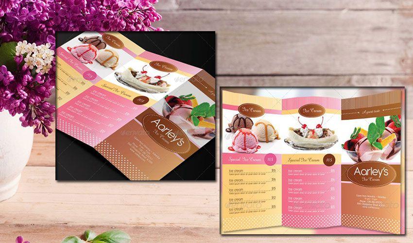 Mẫu in và thiết kế menu gấp dạng tờ rơi hoặc để bàn