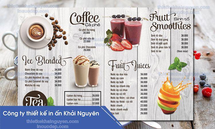 Mẫu thiết kế và in menu bìa bồi carton của quán coffee