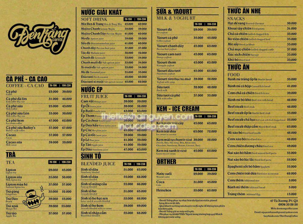 Thiết kế menu đẹp - mẫu menu kraft của quán cafe Đen Trắng