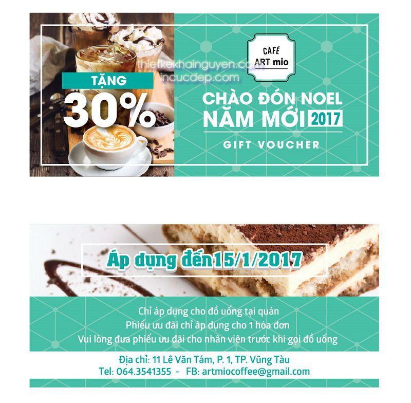 Thiết kế voucher quán coffee artmio tại Vũng Tàu