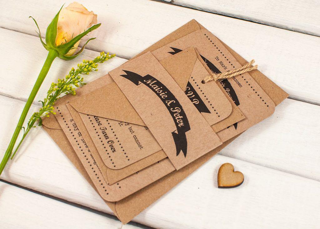 Bộ thiệp cưới in giấy kraft rất tuyệt