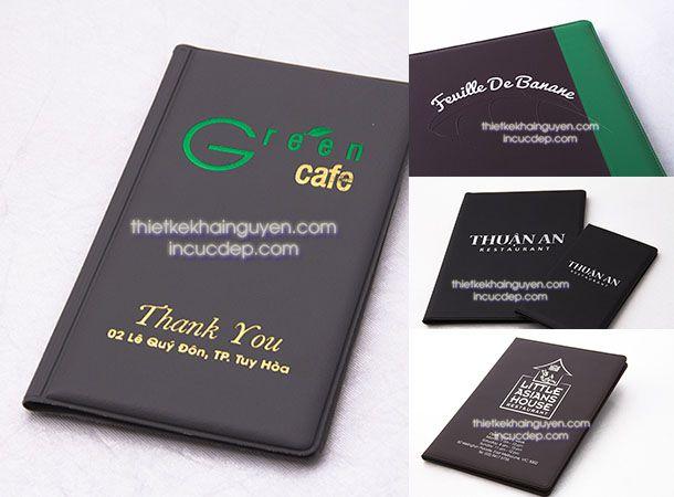 In thực đơn bìa da cho nhà hàng - quán cafe cực đẹp