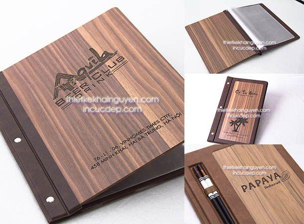 Làm thực đơn bìa gỗ - thực đơn nhà hàng cao cấp