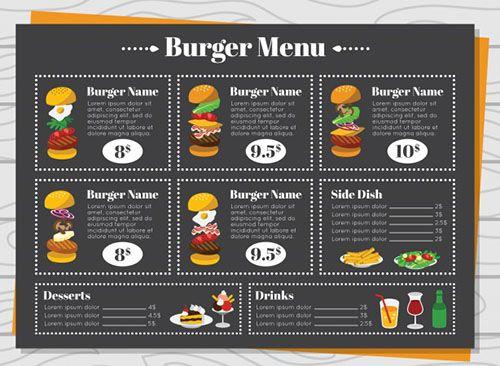 Mẫu menu Burger hoàn toàn miễn phí