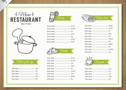 Mẫu menu A4 gấp 3 - thiết kế chủ đạo xanh - trắng