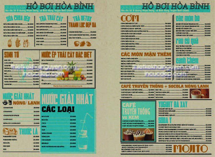 Bố cục thiết kế menu phong cách báo chí