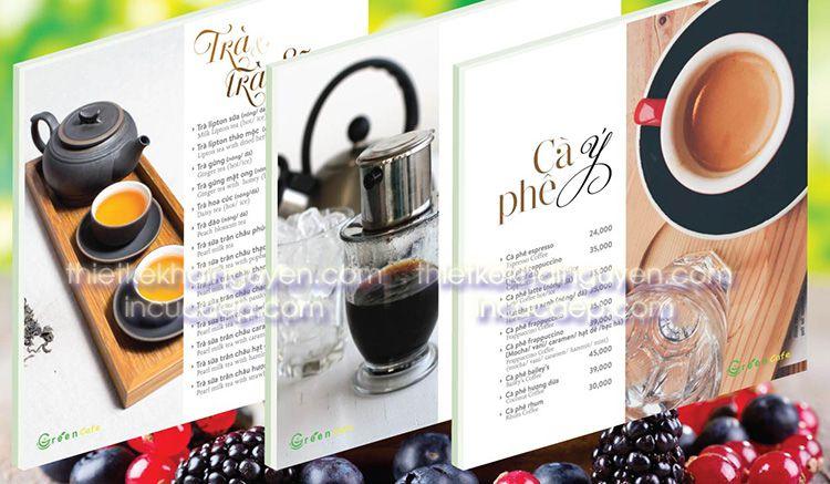 Thực đơn trà & cà phê. Sản phẩm chủ đạo của Green Cafe