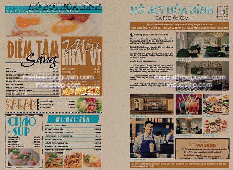 In menu giấy kraft - menu dạng tờ báo