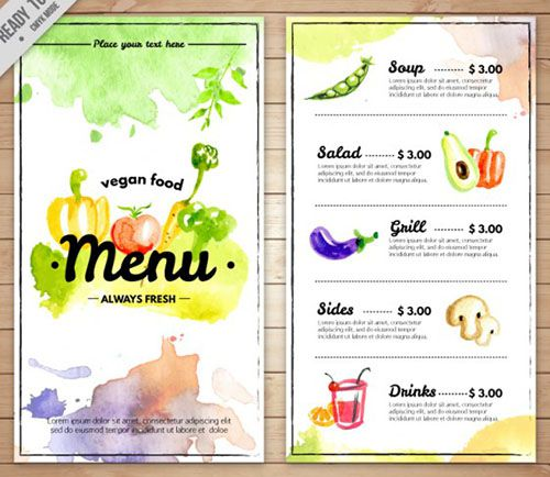 Mẫu thiết kế thực đơn miễn phí đầy màu sắc