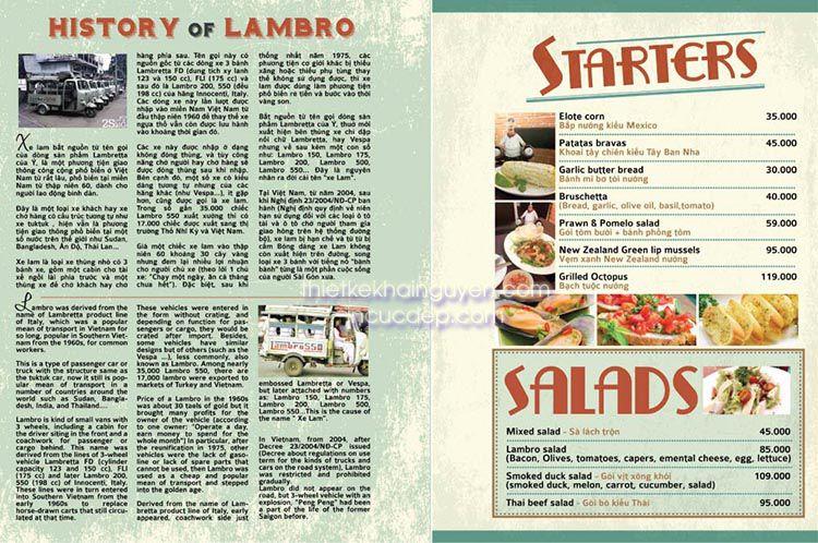 Mẫu thiết kế menu nhà hàng LamBro quận 7